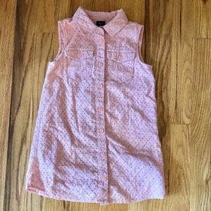 Gap Girls Pink Eyelet Shirt Dress Sleeveless XS